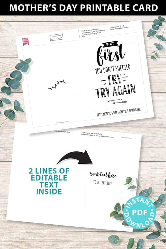 """FUNNY Mother's Day Card Printable, 5x7"""", Mom card, If at first you don't succeed, From Son, From Daughter, Editable Text, INSTANT DOWNLOAD Press Print Party"""