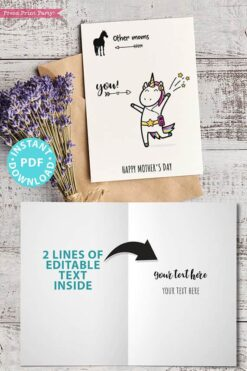 "FUNNY Mother's Day Card Printable, 5x7"", Mom card, Unicorn mom, Horse Mom, From Son, From Daughter, Editable Text inside, INSTANT DOWNLOAD Press Print Party"