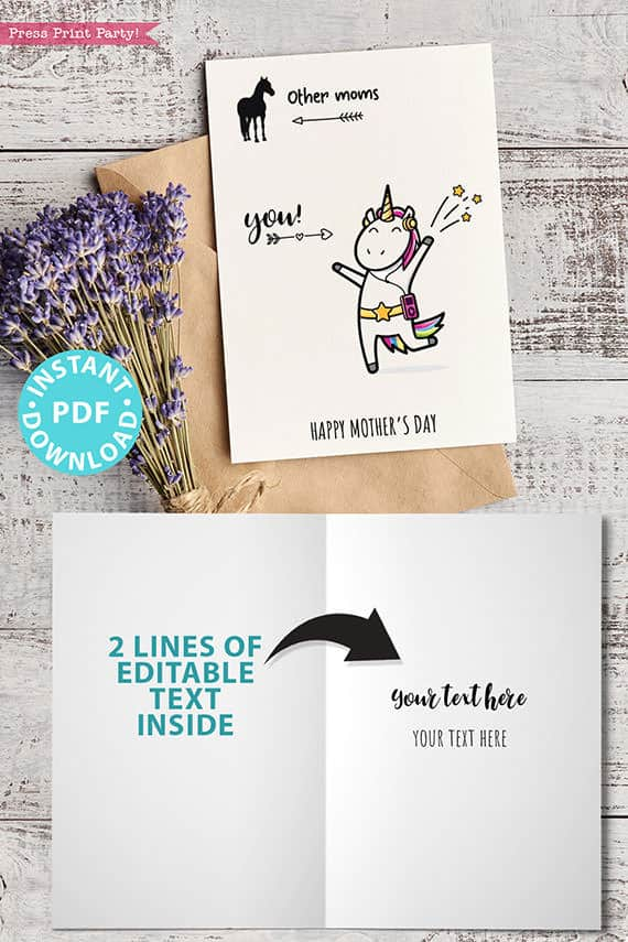 """FUNNY Mother's Day Card Printable, 5x7"""", Mom card, Unicorn mom, Horse Mom, From Son, From Daughter, Editable Text inside, INSTANT DOWNLOAD Press Print Party"""