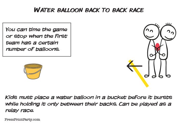 water balloon games back to back race take water balloon into a bucket Press Print Party