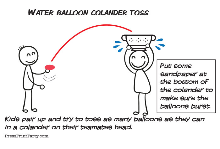 water balloon game colander toss. Press print Party