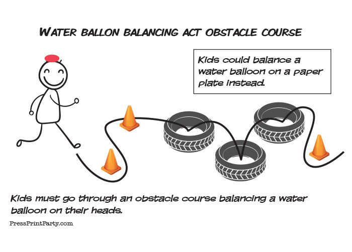 water balloon obstacle course. games for kids and teens. Press Print Party