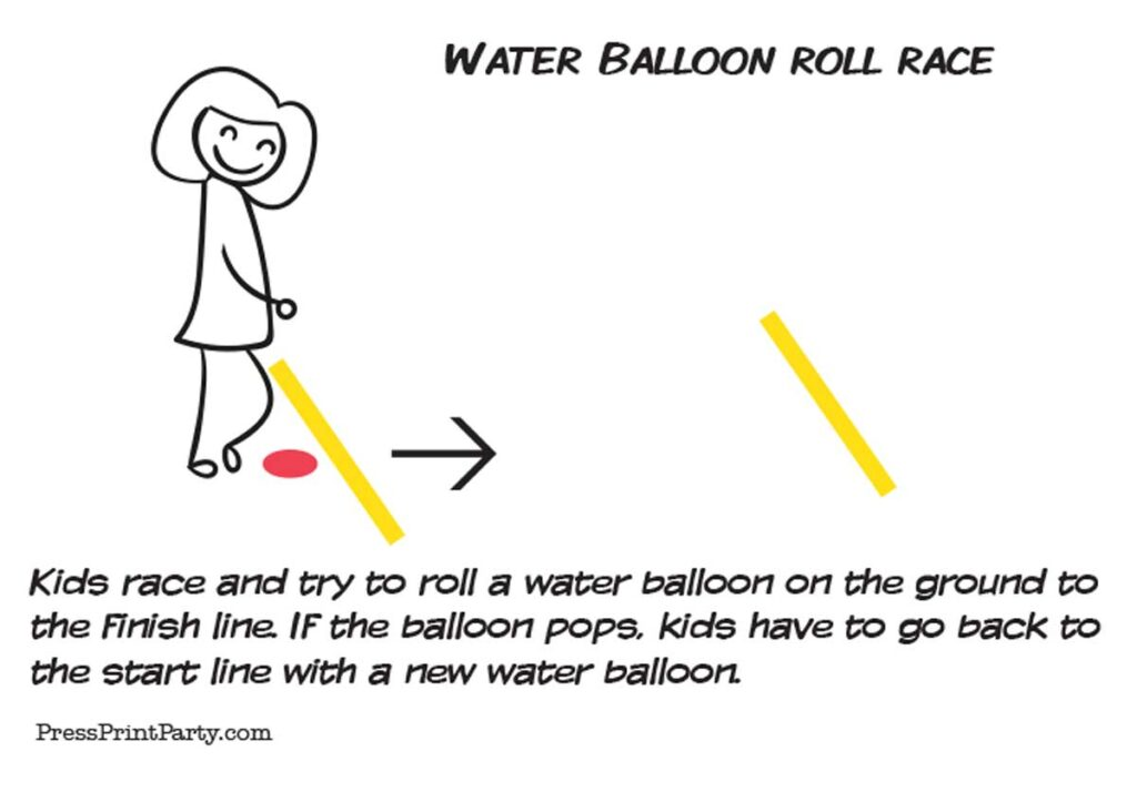 water balloon roll race girl at starting line. Press Print Party