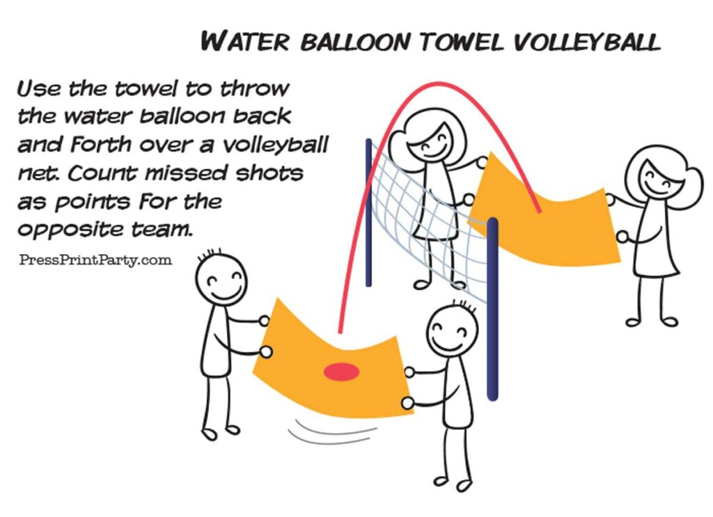 water balloon game for teens and kids towel volleyball - Press Print Party!