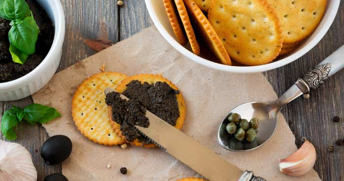 tapenade on cracker - 15 fancy appetizers quick - Press Print Party!