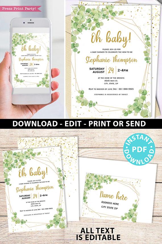 Baby Shower Invitation Template Bundle, Editable Invitation & Decorations Printables, Eucalyptus Green, Gender Neutral set INSTANT DOWNLOAD Press Print Party