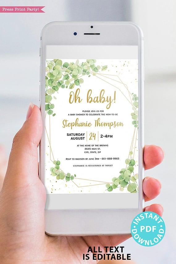 Baby Shower Invitation Template Bundle, Editable Invitation & Decorations Printables, Eucalyptus Green, Gender Neutral set INSTANT DOWNLOAD Press Print Party digital invitation