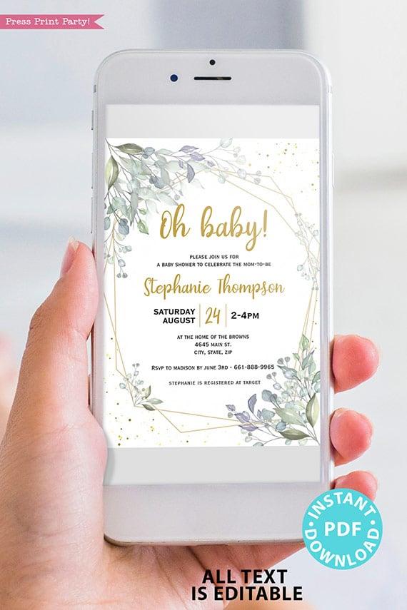Baby Shower Invitation Template Bundle, Editable Invitation & Decorations Printables, Modern Greenery Gender Neutral, INSTANT DOWNLOAD Press Print Party didgital invitation