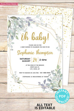 Baby Shower Invitation Template Bundle, Editable Invitation & Decorations Printables, Modern Greenery Gender Neutral, INSTANT DOWNLOAD Press Print Party