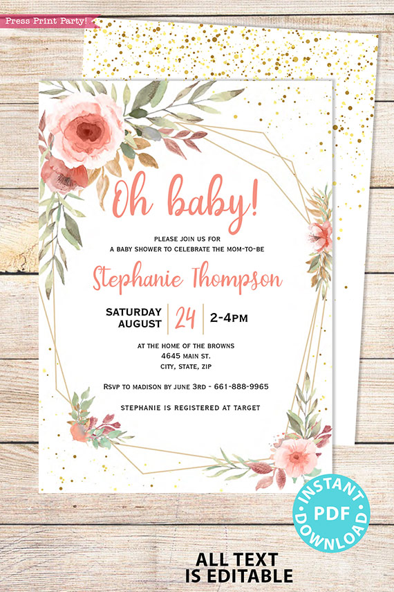 Baby Shower Invitation Template Bundle, Editable Invitation & Decorations Printables, Blush Peach Floral Sweet Baby Girl, INSTANT DOWNLOAD Press Print Party
