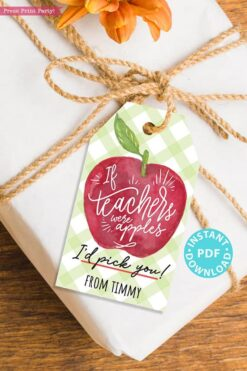 EDITABLE Back to School Teacher Appreciation Gift Tags Printable, First Day of School Gift Tags, If Teachers were apples, INSTANT DOWNLOAD