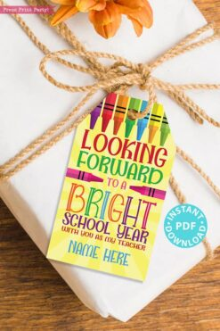 EDITABLE Back to School Teacher Gift Tags Printable, First Day of School Gift Tag, Looking Forward to a Bright School Year, INSTANT DOWNLOAD