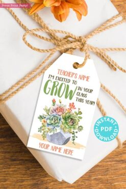 EDITABLE Back to School Teacher Appreciation Gift Tags Printable, First Day of School Gift Tags, Grow in Your Class, INSTANT DOWNLOAD