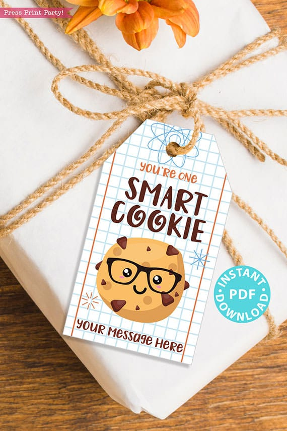 """EDITABLE Back to School Kids Gift Tags Printable for Cookies """"You're one smart cookie"""", Kids first day of school Lunch Box, INSTANT DOWNLOAD"""