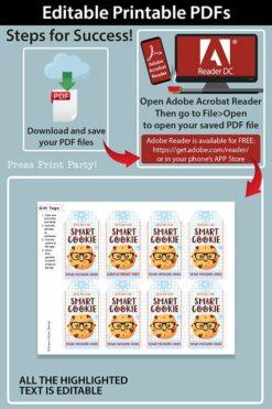 EDITABLE Back to School Kids Gift Tags Printable for Cookies