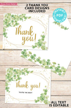 Baby Shower Invitation Template Bundle, Editable Invitation & Decorations Printables, Eucalyptus Green, Gender Neutral set INSTANT DOWNLOAD Press Print Party thank you notes