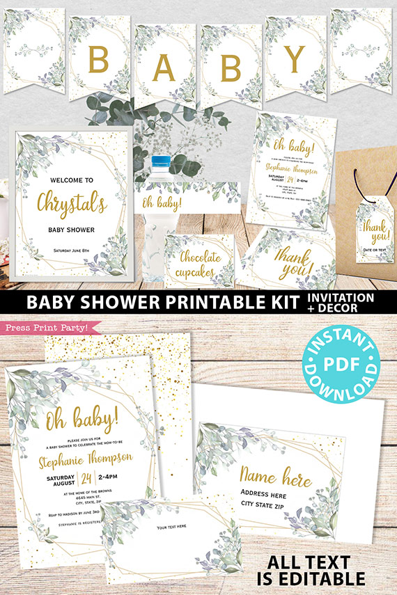 Baby Shower Invitation Template Bundle, Editable Invitation & Decorations Printables, Modern Greenery Gender Neutral, INSTANT DOWNLOAD Press Print Party welcome sign thank you note envelope