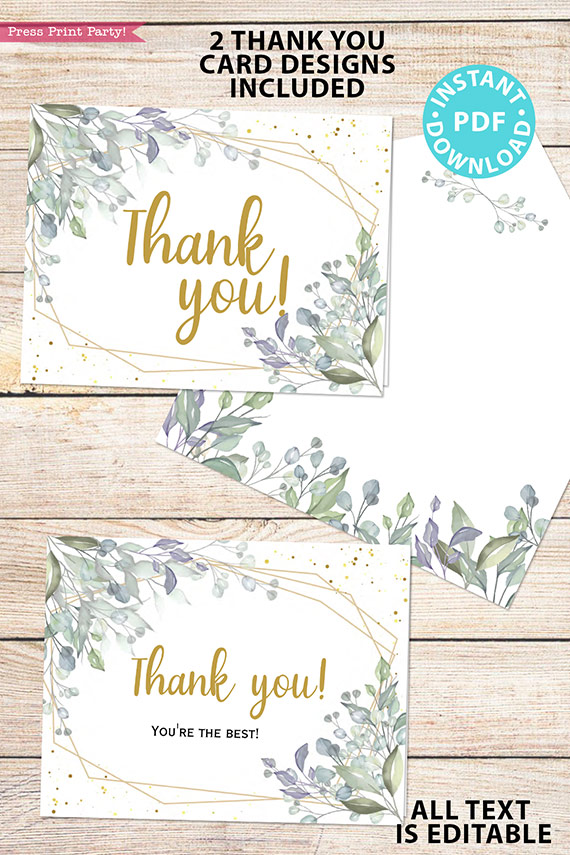 Baby Shower Invitation Template Bundle, Editable Invitation & Decorations Printables, Modern Greenery Gender Neutral, INSTANT DOWNLOAD Press Print Party thank you notes