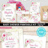 Baby Shower Invitation Template and decoration Bundle, Editable Invitation & Decorations Printables, Blush Pink Floral Sweet Baby Girl, INSTANT DOWNLOAD Press Print Party