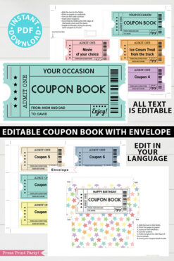 EDITABLE Coupon Book Template, Multi Color Tickets Printable, Custom Birthday Coupons Book Gift Idea, Homemade Blank, INSTANT DOWNLOAD Press Print Party