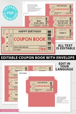 Printable Coupon Book Template, Tickets, Custom Birthday Coupons Book Gift Idea, Homemade Blank Editable Coupon Book, INSTANT DOWNLOAD red Press print party