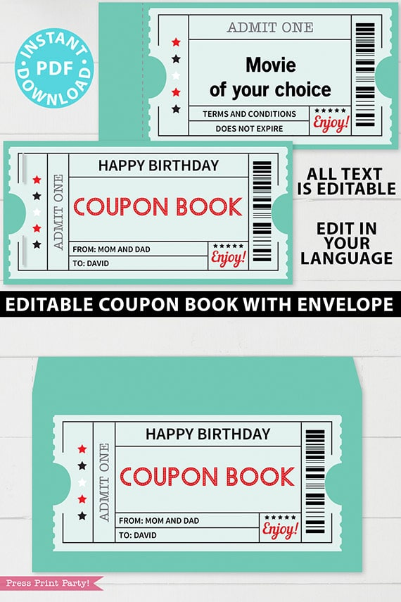 EDITABLE Coupon Book Template Printable, Green Tickets, Custom Birthday Coupons Book Gift Idea, Homemade Blank Coupon Book, INSTANT DOWNLOAD Press Print Party