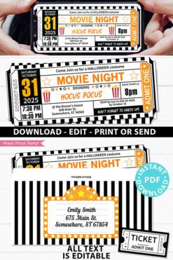 Halloween Movie Ticket Invitation Printables, Orange and Black Ticket Template, Halloween Movie Night Party Ticket stub, INSTANT DOWNLOAD Press Print Party