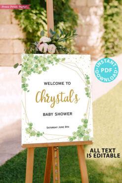 Baby Shower Invitation Template Bundle, Editable Invitation & Decorations Printables, Eucalyptus Green, Gender Neutral set INSTANT DOWNLOAD Press Print Party sign