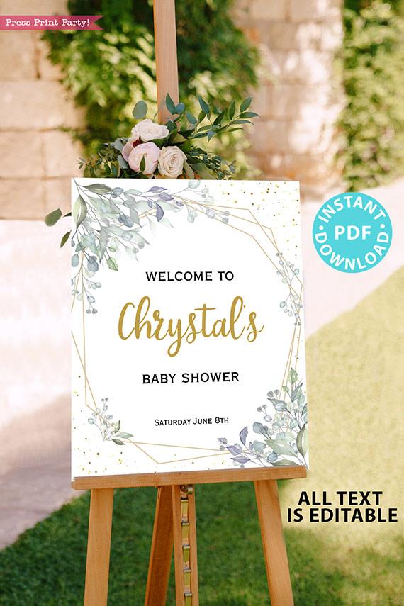 Baby Shower Invitation Template Bundle, Editable Invitation & Decorations Printables, Modern Greenery Gender Neutral, INSTANT DOWNLOAD Press Print Party sign
