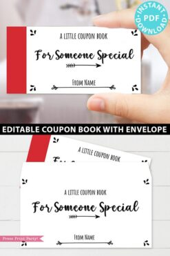 Printable Coupon Book Template For Adults, Custom Birthday Coupons Book Gift Idea, Homemade Blank Editable Coupon Book, INSTANT DOWNLOAD Press Print Party