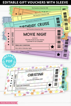EDITABLE Birthday Voucher Coupons Template w. Holder Printable, Surprise Birthday Gift Tickets, Multi Colored Fun Ideas, INSTANT DOWNLOAD