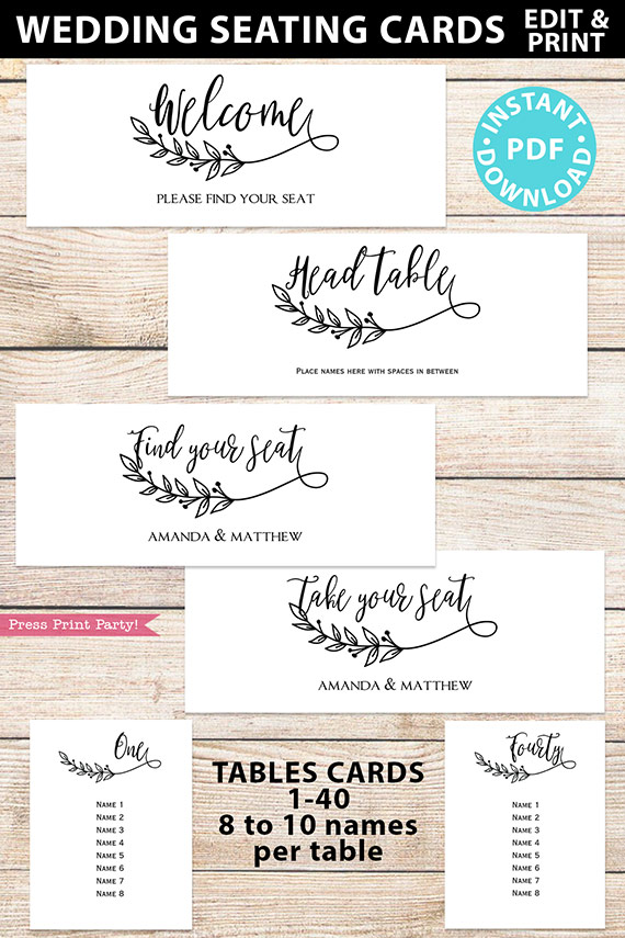 Wedding Seating Chart Template Download, Rustic Sign, Printable Wedding Seating Cards, Editable, Table Numbers, Boho Leaf, INSTANT DOWNLOAD