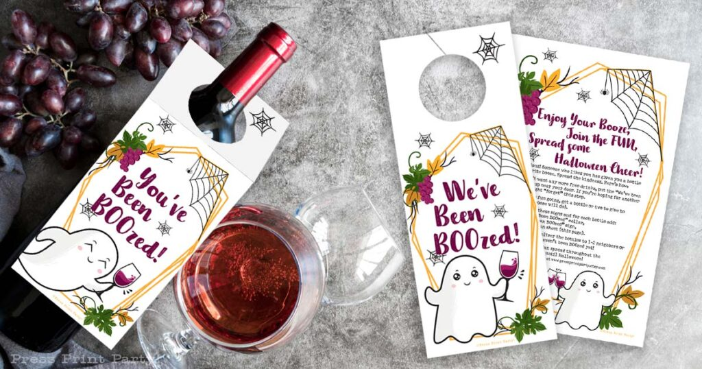 Last Minute You've been boozed printable signs - fun halloween game - we've been boozed on wine bottle and grapes. Neighbor gift. Press Print Party!
