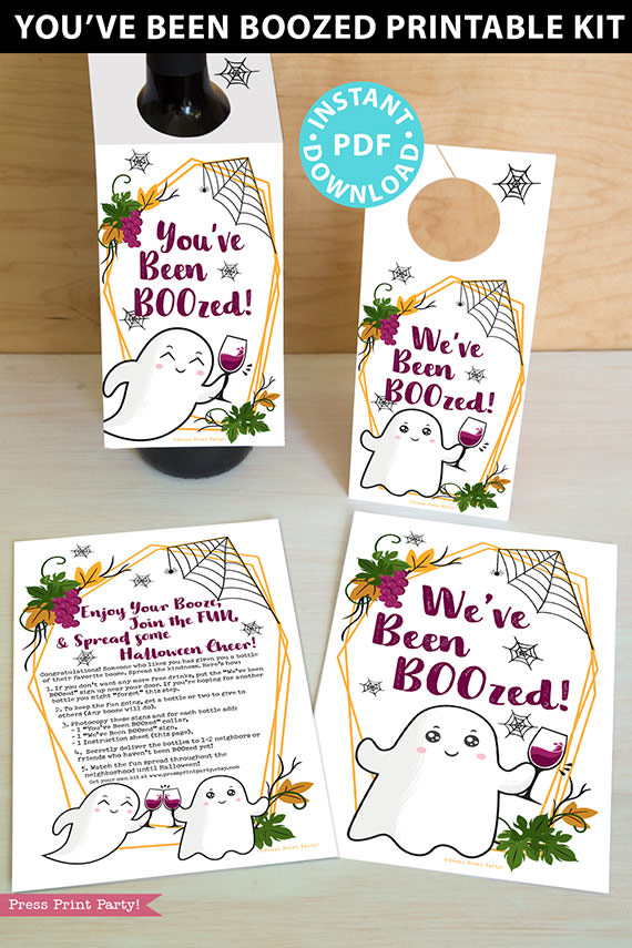 ou've Been BOOzed Printable Kit, We've Been Boozed, w. Instructions, Boo Wine label collar Tag, Halloween game adults, INSTANT DOWNLOAD