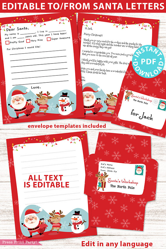 EDITABLE Santa Letter Printable Template Kit, To and From Santa, Kid Dear Santa Letter, Happy Santa Letterhead, Envelopes, INSTANT DOWNLOAD happy santa Press Print Party!
