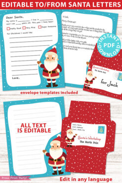 EDITABLE Santa Letter Printable Template Kit, To and From Santa, Kid Dear Santa Letter, Snow Santa Letterhead, Envelopes, INSTANT DOWNLOAD Press Print Party!