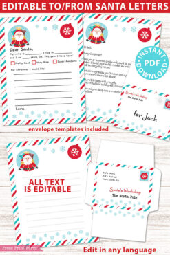 EDITABLE Santa Letter Printable Template Kit, To and From Santa, Kid Dear Santa Letter, Happy Santa Letterhead, Envelopes, INSTANT DOWNLOAD Press Print Party!