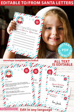 Girl with letter to santa. EDITABLE Santa Letter Printable Template Kit, To and From Santa, Kid Dear Santa Letter, Happy Santa Letterhead, Envelopes, INSTANT DOWNLOAD Press Print Party!
