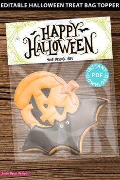 EDITABLE Halloween Treat Bag Topper Printable, Happy Halloween w. bats, Halloween Party Favors, Goodie Bag, Kids Halloween, INSTANT DOWNLOAD
