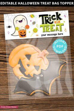 EDITABLE Halloween Treat Bag Topper Printable, Halloween Party Favors, Goodie Bag, Kids Halloween, Treat Bag, Candy Bag, INSTANT DOWNLOAD