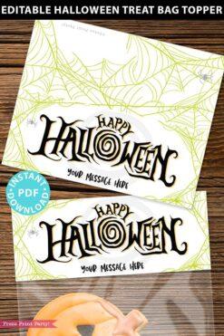 EDITABLE Halloween Treat Bag Topper Printable, Happy Halloween, Halloween Party Favors, Goodie Bag, Kids Halloween, Candy, INSTANT DOWNLOAD
