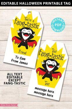EDITABLE Halloween Tag Printable, Fangtastic, Halloween Party Favors, Goodie Bag, Kids Halloween, Treat Bag, Candy Dracula, INSTANT DOWNLOAD