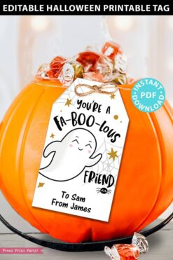EDITABLE Halloween Tag Printable, Fab-Boo-lous Ghost, Halloween Party Favors, Goodie Bag, Kids Halloween, Treat Bag, Candy, INSTANT DOWNLOAD