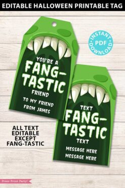 EDITABLE Halloween Tag Printable, Monster Tag, Halloween Party Favors, Goodie Bag, Kids Halloween, Treat Bag, Candy Bag, you're fang-tastic, INSTANT DOWNLOAD