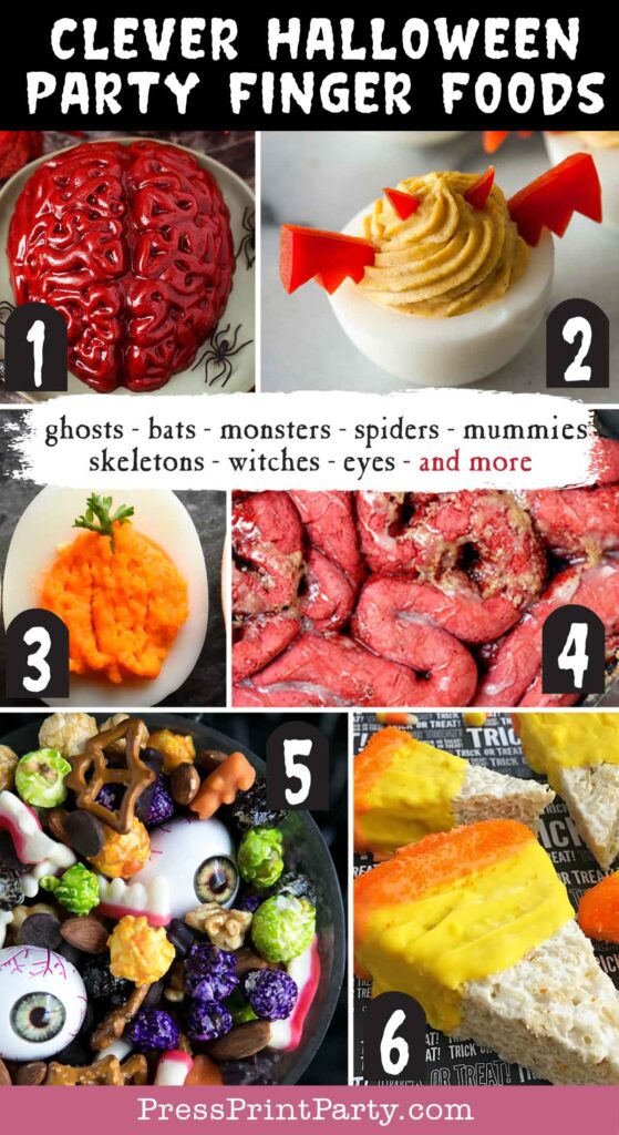 Halloween party finger foods treats and appetizers ideas - Jello Brain Recipe  Adorable Halloween Deviled Eggs  Halloween PumpkinDeviled Eggs  Zombie Guts Halloween Cinnamon Rolls  Halloween Monster Mash Party Mix  Candy Corn Rice Crispies  - Press Print Party!
