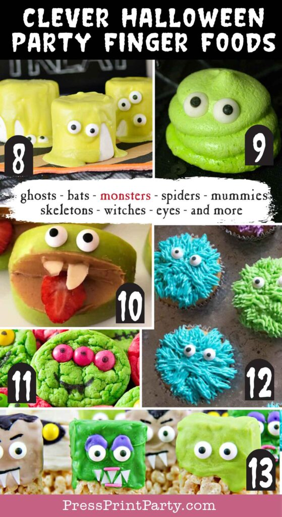 Halloween party finger foods treats and appetizers ideas Blobby Meringue Cookies  Silly Apple Bites  Halloween Monsters Marshmallows  Simple Monster Cupcakes  Hotel Transylvania Rice Treats Press Print Party!