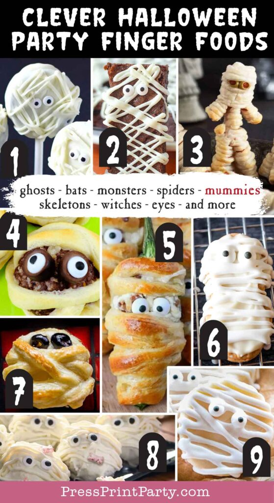 Halloween party finger foods treats and appetizers ideas Easy Oreo Mummy Pops  Mummy Brownies  Halloween Mummy Hot Dogs  Mummy Meatballs Halloween Appetizer  Halloween Bacon Jalapeno Poppers Mummies  Mummy Cookies  Halloween Puff Pastry Mummy Cheese Wheels  Halloween Truffles  Halloween Mummy Treats Press Print Party!