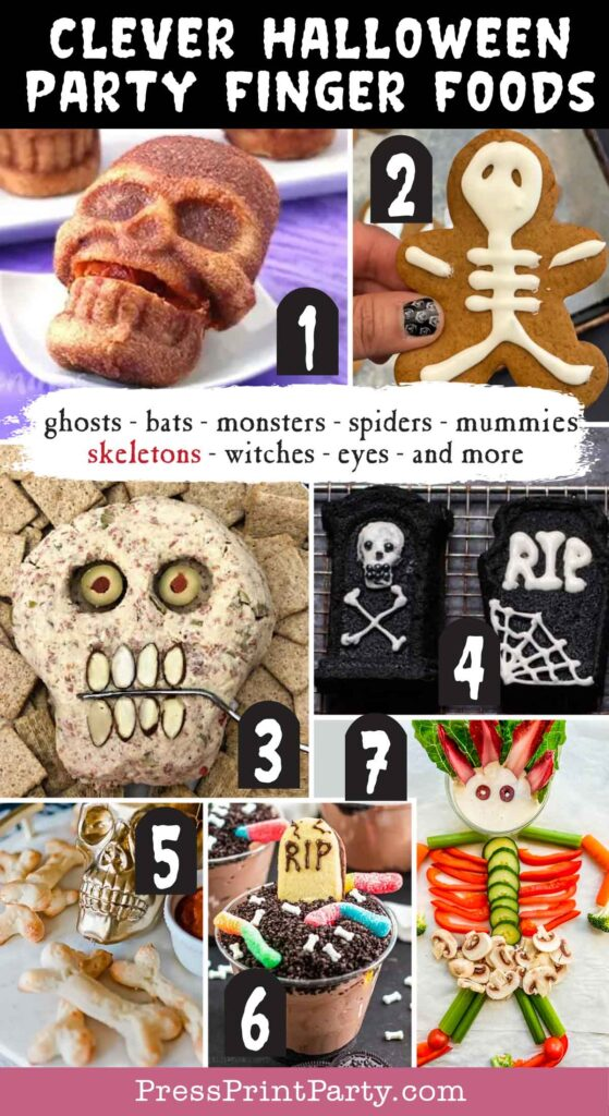 Halloween party finger foods treats and appetizers ideas Stuffed Pizza Skulls  Gingerbread Skeleton  Pepperoni Skull Cheese Ball  Pumking Tombstone Cakes  Graveyard Kids Puding  Halloween Bone Breadsticks  Skeleton Veggie Tray  Press Print Party!