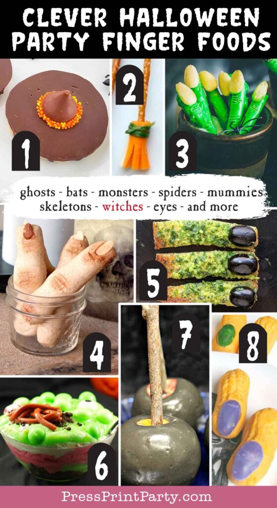 Halloween party finger foods treats and appetizers - Wich Hat Cookies  Witch Broom Halloween Snacks  Halloween Witch Fingers  Spooky Witch Finger Cookies  Gluten Free Witches Finger Garlic Bread Dippers  Witches Brew Trifle  Poison Apples – No Sugar, No Dairy, No Food Dye  Witch Fingers  - Press Print Party!