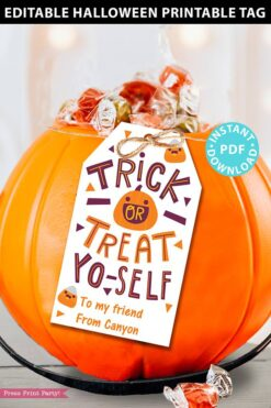 EDITABLE Halloween Tag Printable, Trick or Treat Yo self, Halloween Party Favors, Goodie Bag, Kids Halloween, Treat Bag, INSTANT DOWNLOAD